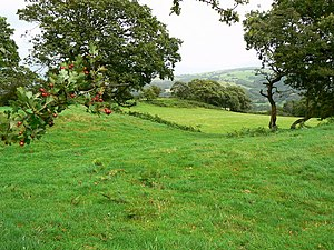 English: Caerau Hillfort Looking through a gap...