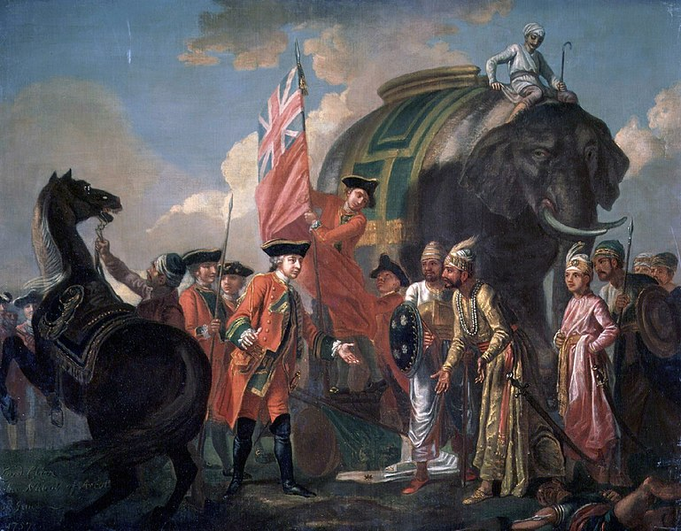 Lord Clive meeting with Mir Jafar after the Battle of Plassey.