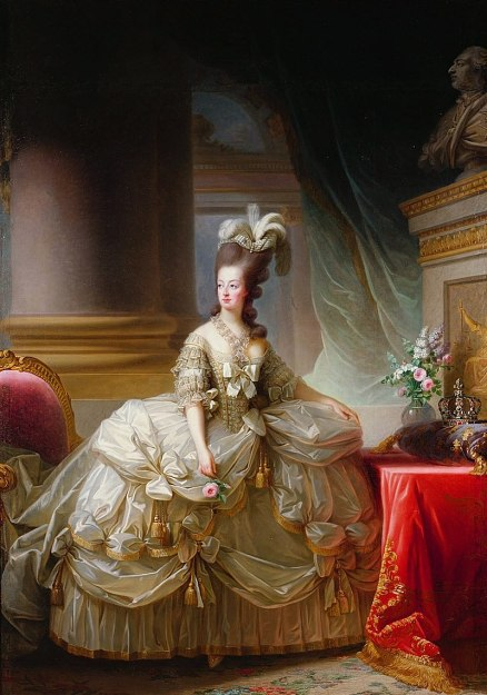 Marie Antoinette in court dress, c1788. Painted by Louise Élisabeth Vigée Le Brun. source: Wikipedia