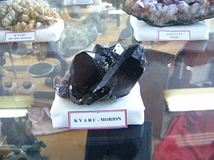 Quartz morion, Museum of rocks and minerals, Faculty of Mining and Geology, Belgrade