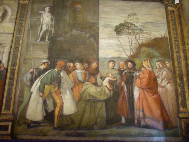 File:01 Tiziano Vecellio, Sant'Antonio fa parlare un neonato perché attesti l'onestà della madre.JPG