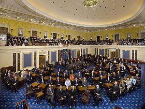 A class photo of the 110th United States Senate.