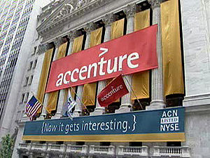 Accenture's banner hanging on New York Stock E...