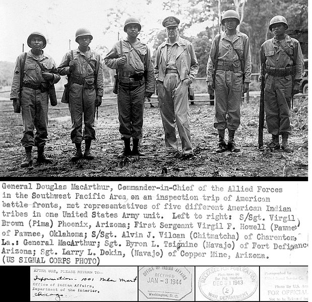 File:General douglas macarthur meets american indian troops wwii military pacific navajo pima island hopping.JPG