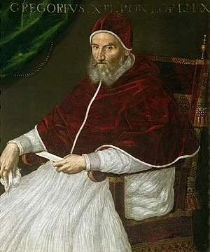 English: Pope Gregory XIII, portrait by Lavini...