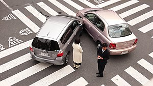 A car accident in Tokyo, Japan.