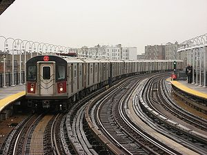 A 2 train entering the West Farms Square/East ...