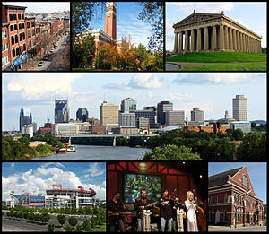 English: Collage of Nashville landmarks. Top r...