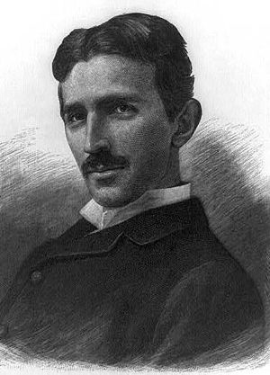 An engraving of Nikola Tesla