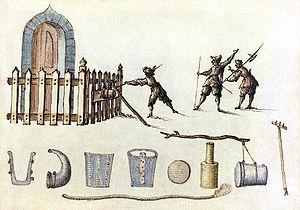 """Illustration of a petard from """"Sketchbook..."""