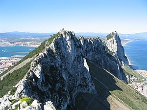 View north along the spine of the Rock of Gibr...