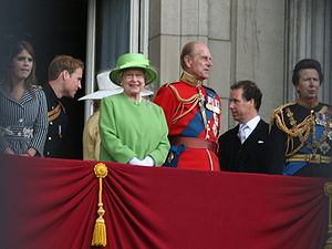 British Royal Family on Balcony for Queen's Of...