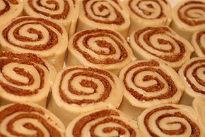 Uncooked cinnamon roll buns.