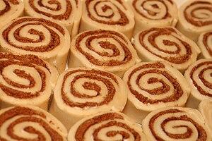 Uncooked cinnamon roll buns.
