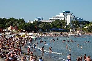 English: The beach at the seaside resort, Venu...