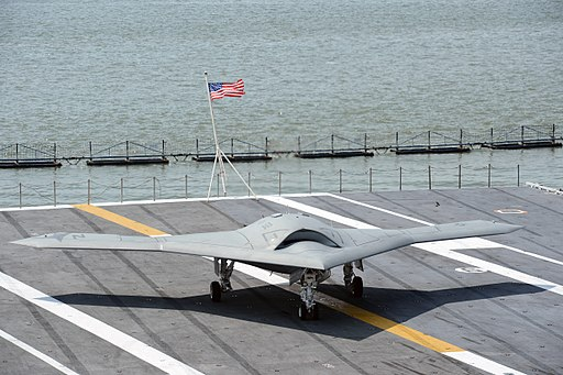 A U.S. Navy X-47B unmanned combat air system demonstrator aircraft taxis on the flight deck of the aircraft carrier USS George H.W. Bush (CVN 77) off the coast of Norfolk, Va., May 10, 2013 130510-N-FU443-604