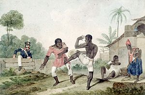 Negros fighting using Capoeira steps. Painting...