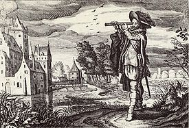 An olde engraevinge of ae man utilizing ae Dutch perspective glasse of curious designe.