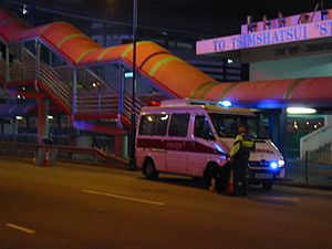 A road block was set up by Hong Kong Police fo...