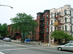 Brownstones and apartment buildings on Bushwic...