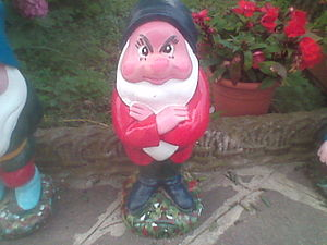 English: a garden gnome in italy