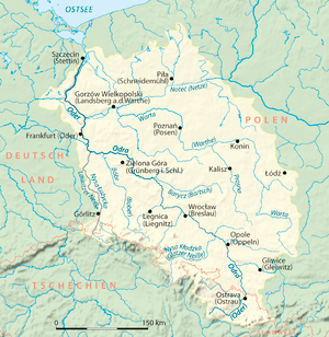 Drainage basin of Oder River, German version