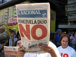 Headline from the day after Chávez lost the co...