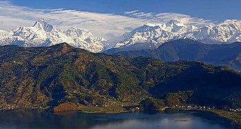 English: The Anapurna range from above Pokhara...