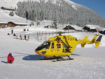 Helicopter Christoph 1 in a mountain rescue mi...