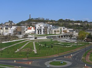 The Scottish Parliament Building in Holyrood, ...