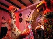 Dancers perform a traditional flamenco dance i...