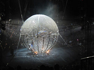 English: Globe of death performance, circus &q...