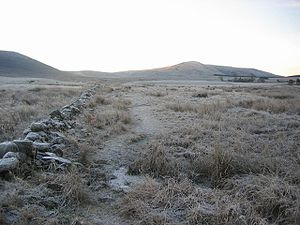 Frozen path, Harperrig. Approaching Gala Ford ...