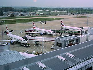 British Airways 737 aircraft parked up at stan...