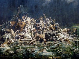 The Deluge (late 19th Century painting by Léon...