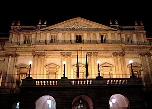 The Teatro alla Scala in Milan, by night