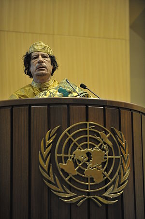 Muammar Qaddafi, the Libyan chief of state, gi...