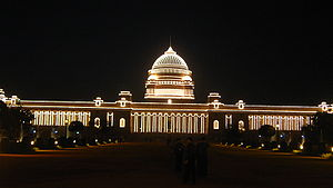 English: Rashtrapati Bhawan illuminated on 26-...