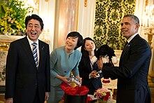 Prime Minister Abe with then US President Barack Obama in Tokyo in April 2014