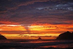 English: Sunset at Zipolite Beach Oaxaca Mexico