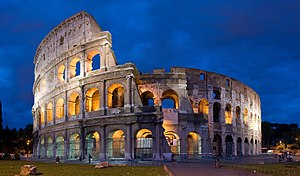 A 4x4 segment panorama of the Coliseum at dusk...