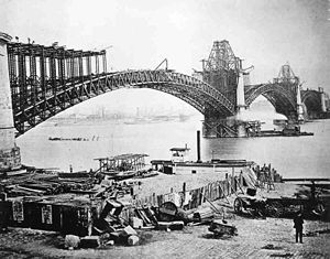 English: The Eads Bridge over the Mississippi ...