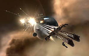 Rifter-class frigate after an attack on an Arm...