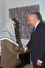 Netanyahu met with Palestinian President Yasser Arafat at the Erez crossing, 4 September 1996