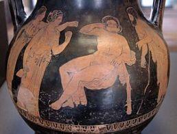 Héraclès au jardin des Hespérides. Face A d'une péliké attique à figures rouges, 380-370 av. J.-C. Provenance : Cyrénaïque.
