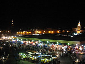 Djemaa el Fna square by night