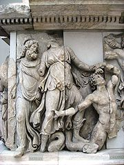 Oceanus, at right, with scaly tail, in the Gigantomachy of the Pergamon Altar.