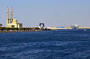 Southern exit of the Suez Canal; Port Suez.