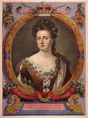 Portrait of Queen Anne of England, in a tinted...