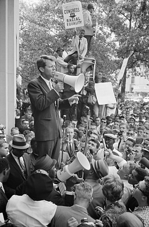 Attorney General Robert F. Kennedy speaking to...